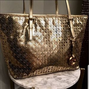 Michael Kors Gold Metallic Tote